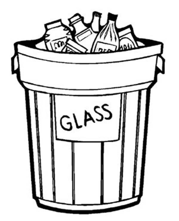 Garbage Can Glass Only For Recycling Coloring Page