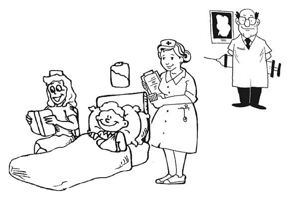 Get Medical Help At Hospital Coloring Page : Coloring Sky