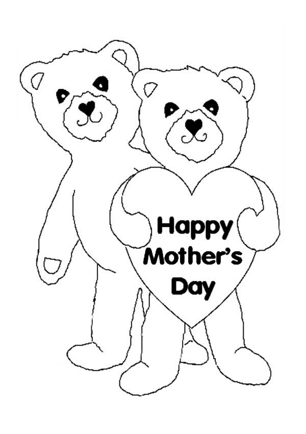 Happy Mothers Day For Teddy Bear Moms Coloring Page