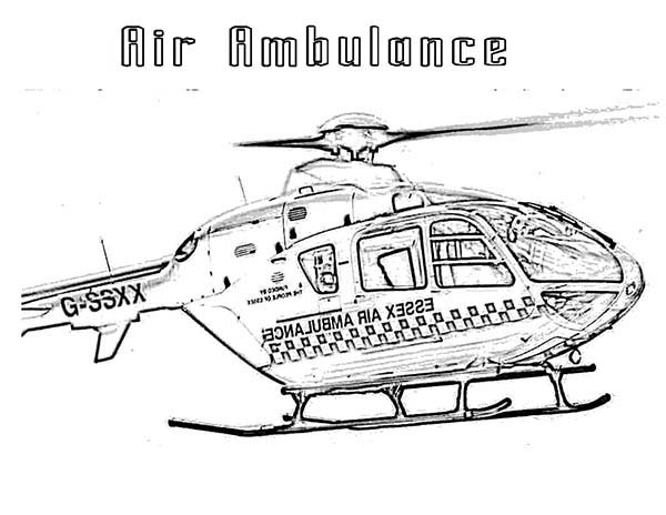 Helicopter Air Ambulance for Medical Care Coloring Page