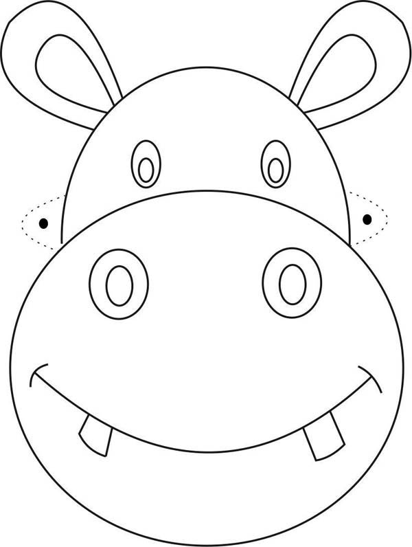 Hippo Mask Coloring Page : Coloring Sky
