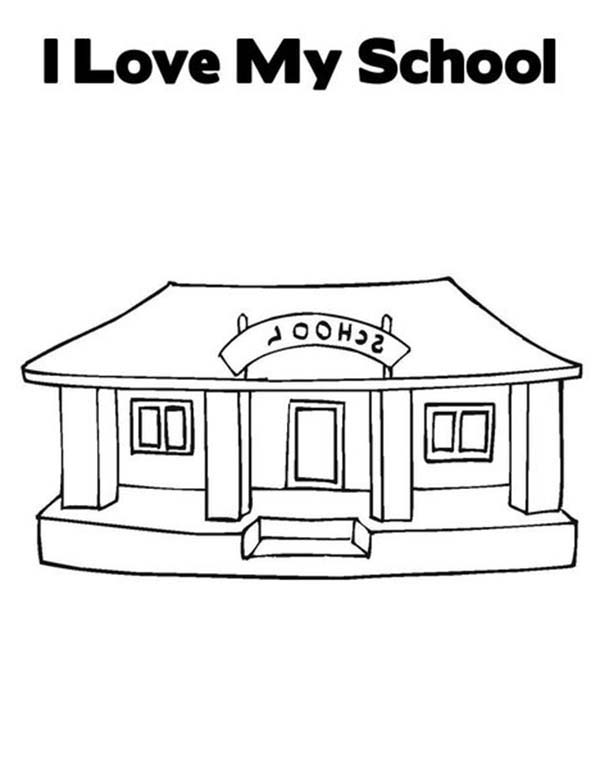 I Love My School House Coloring Page : Coloring Sky