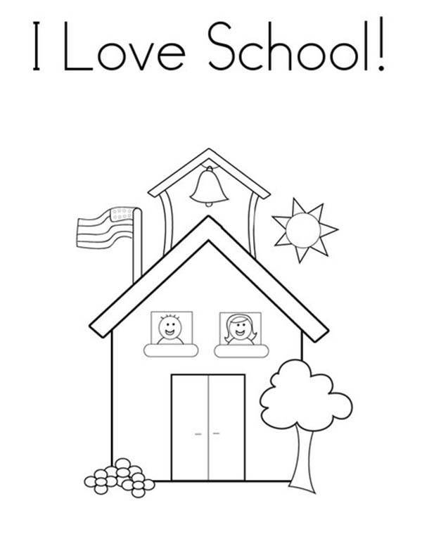 I Love School House Coloring Page : Coloring Sky