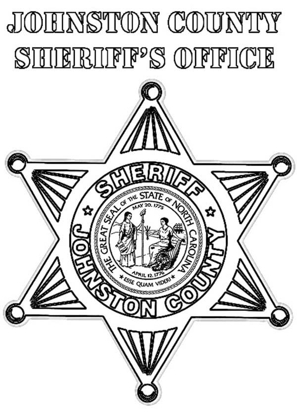 Johnston County Sheriff Badge Coloring Page : Coloring Sky