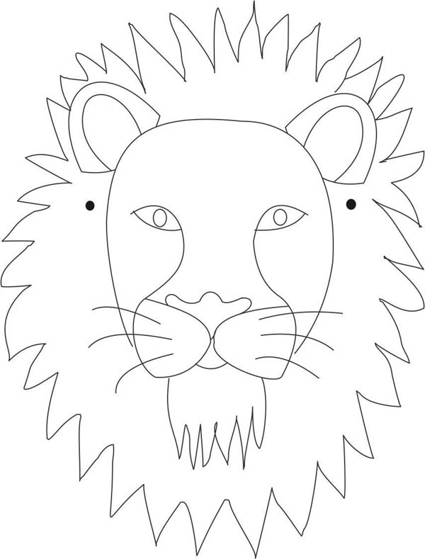 Lion Mask Coloring Page : Coloring Sky