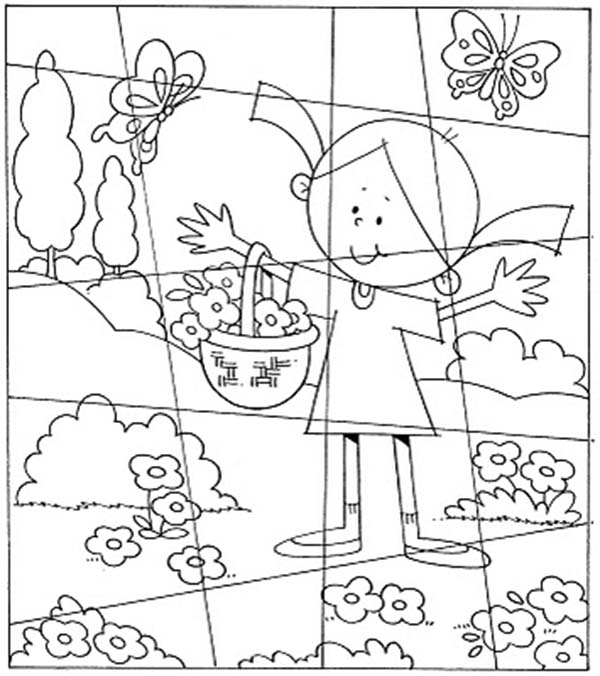 Little Girl In The Flower Garden Puzzles Coloring Page