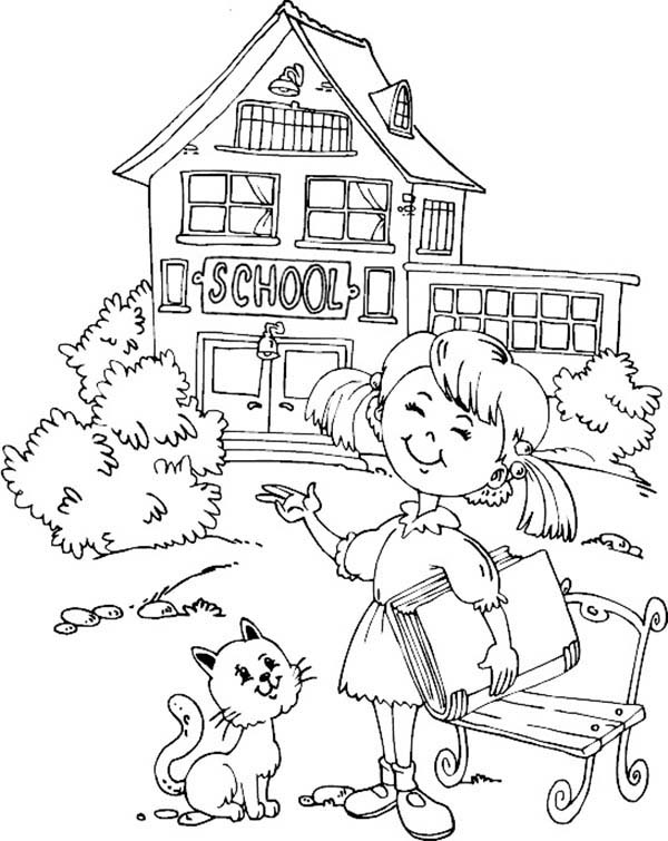 Little Want To Learn At School House Coloring Page
