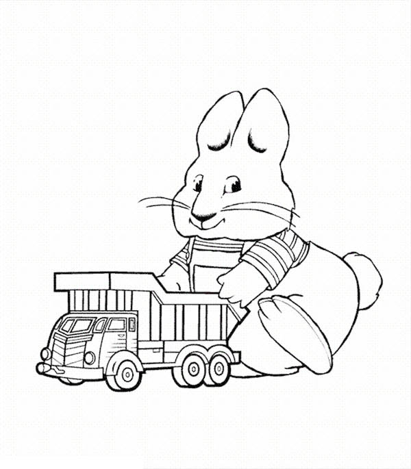 Max Play With His Dump Truck Toy In Max And Ruby Coloring