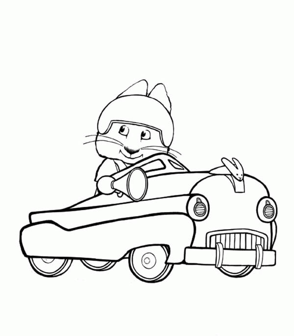 Max Ride His Cadillac In Max And Ruby Coloring Page