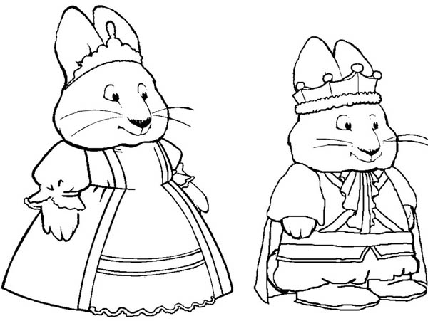 Max and Ruby Play King and Queen Drama Coloring Page