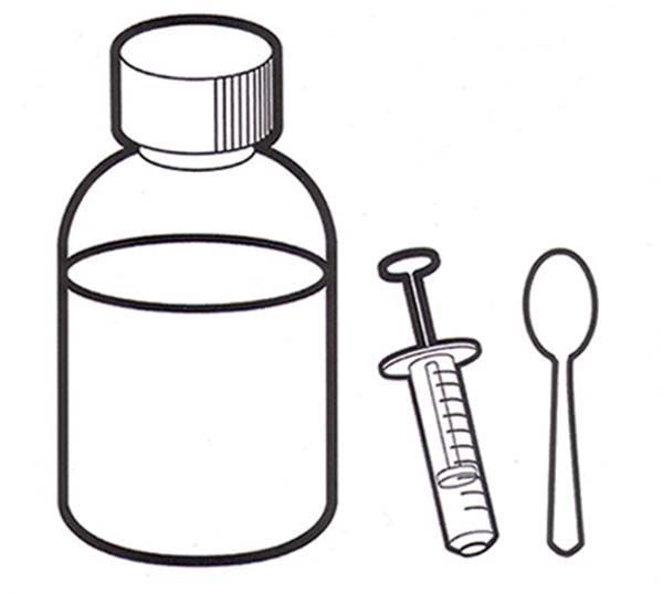 Medicine with Spoon and Syringe for Medical Treatment