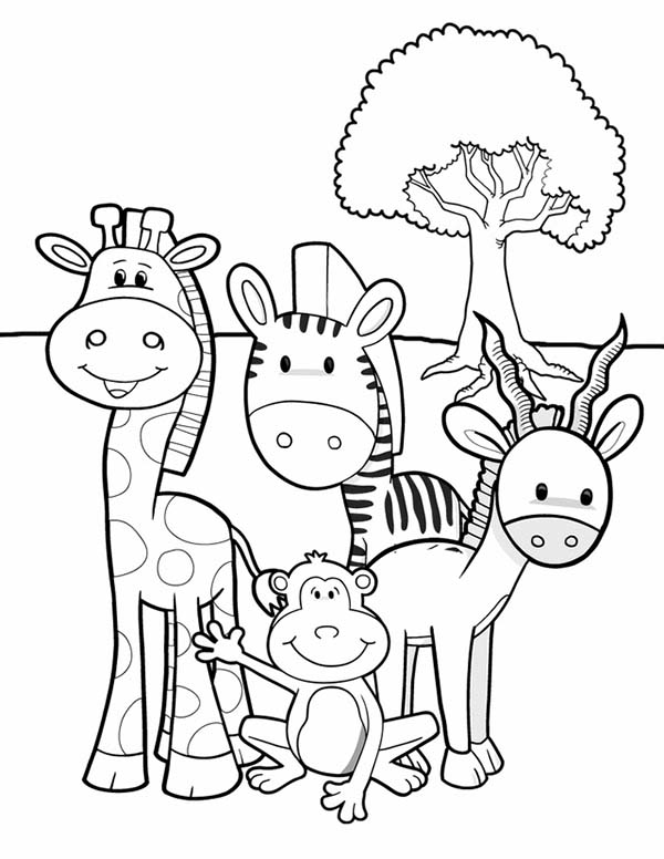 Meet Animals At African Safari Coloring Page : Coloring Sky