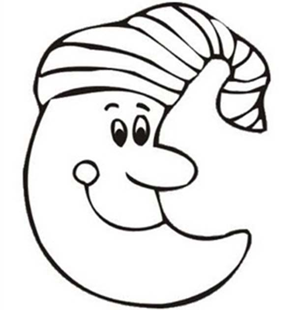Moon Sweet Smile Coloring Page : Coloring Sky