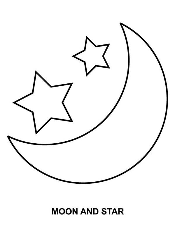 Moon and Star Coloring Page: Moon and Star Coloring Page