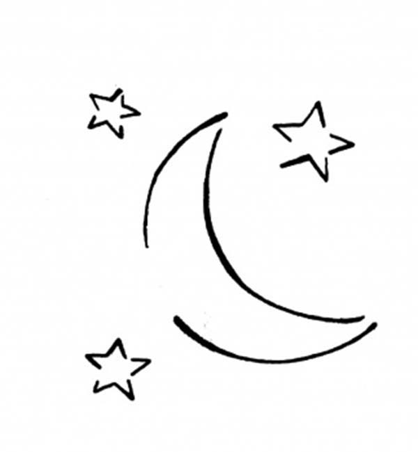 Moon And Three Stars Coloring Page : Coloring Sky