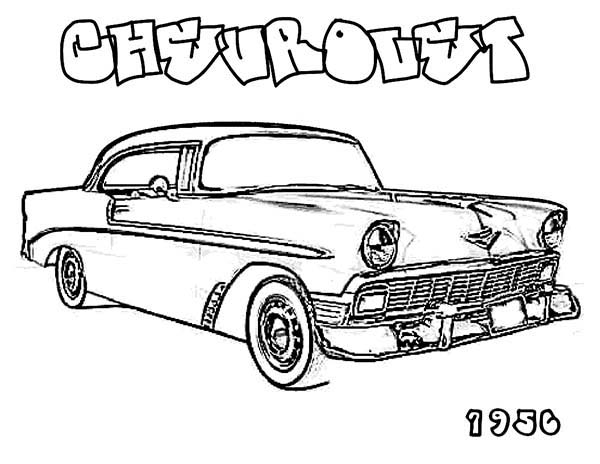 Muscle Car 1956 CHEVROLET Old Car Coloring Page : Coloring Sky