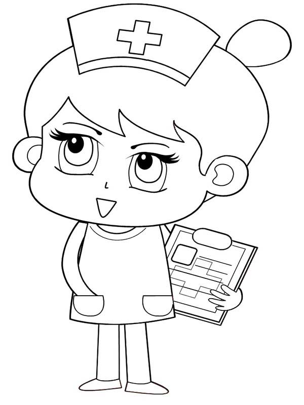 Nurse Bring Patient Medical Report Coloring Page