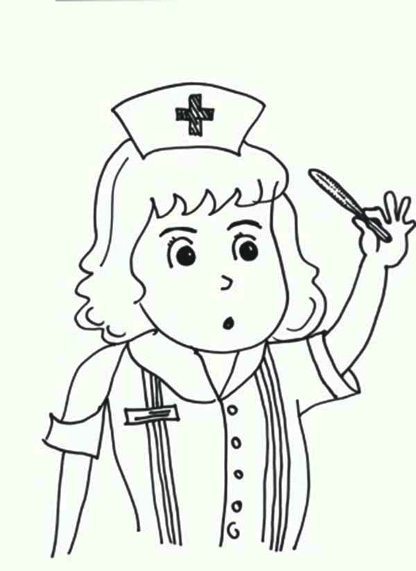 Nurse Checking Medical Kit Thermometer Coloring Page