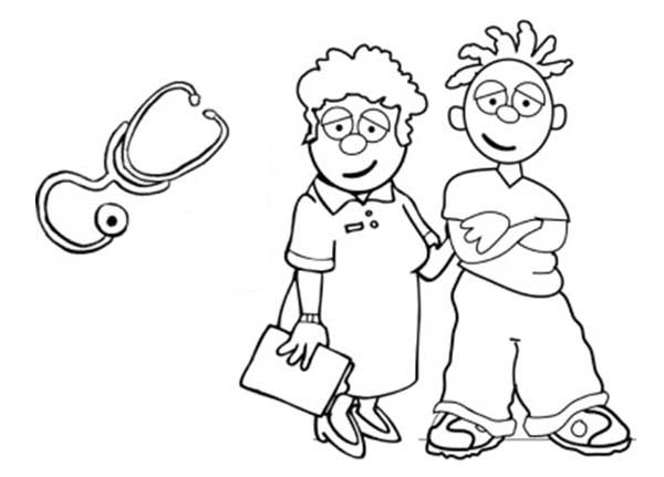 Nurse Taking Care Of Patient Medical Health Coloring Page