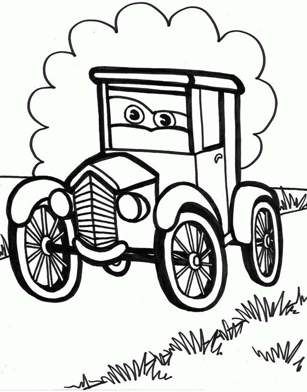 Old Car Cartoon Picture Coloring Page : Coloring Sky