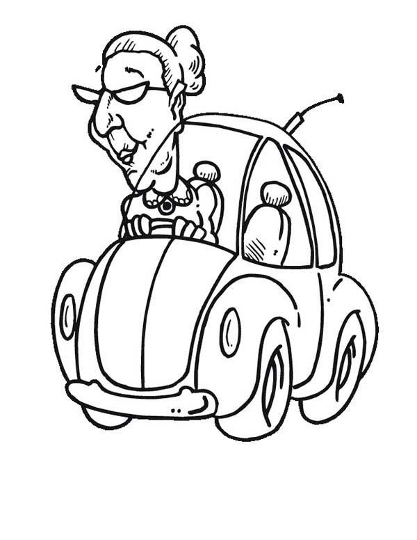 Old Lady Driving An Old Car Coloring Page : Coloring Sky