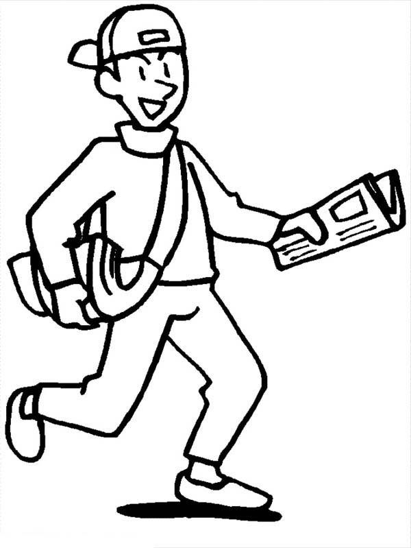 Paperboy Delivery Newspaper to People Coloring Page