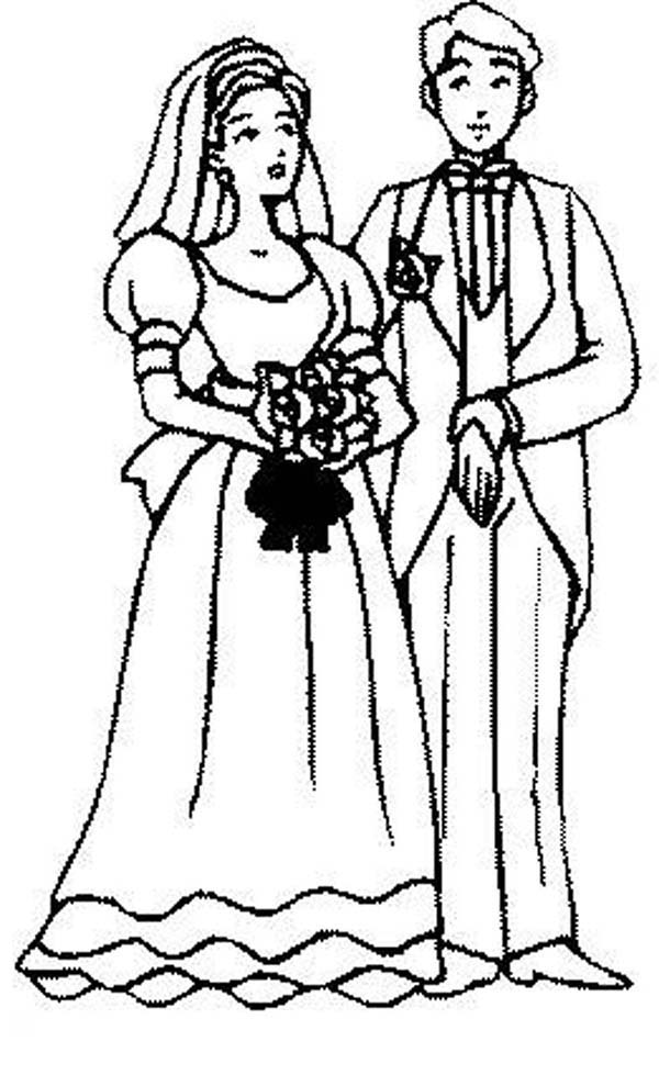 People Get Married Coloring Page : Coloring Sky