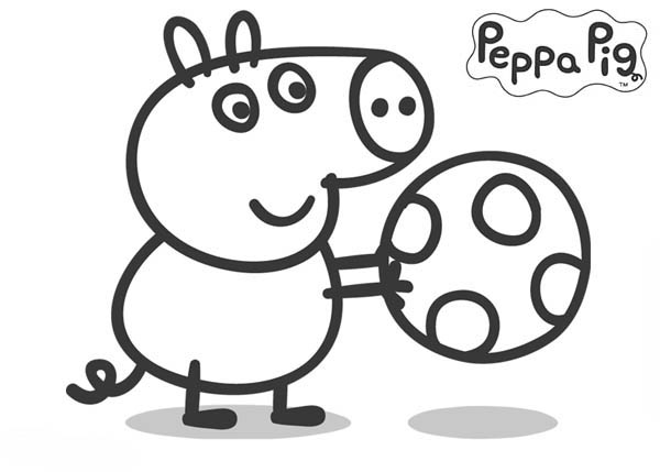Peppa Pig Brother George Playing Football Coloring Page