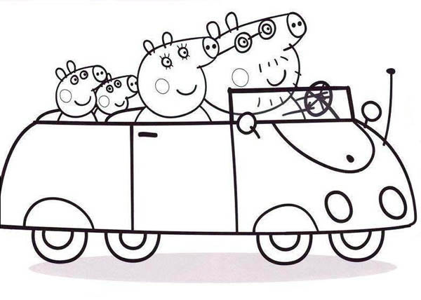 Peppa Pig Family Going To Town With Car Coloring Page