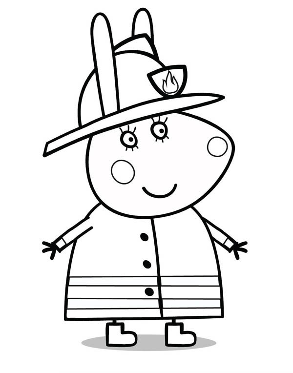 Peppa Pig Want to be a Great Firefighter Coloring Page
