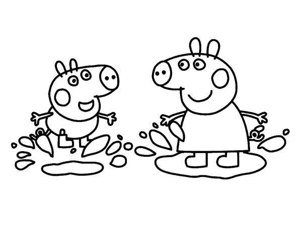 Peppa Pig And George Playing In The Mud Coloring Page