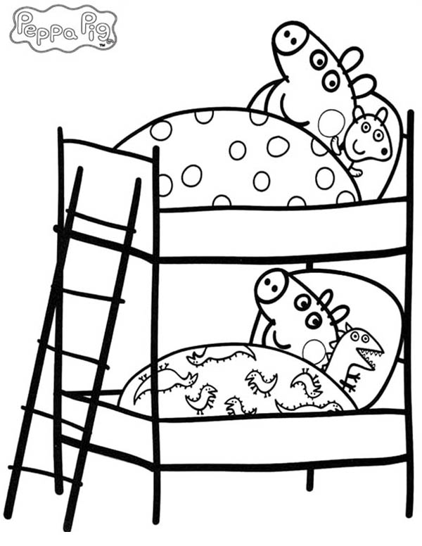 Peppa Pig And His Little Brother Bed Coloring Page