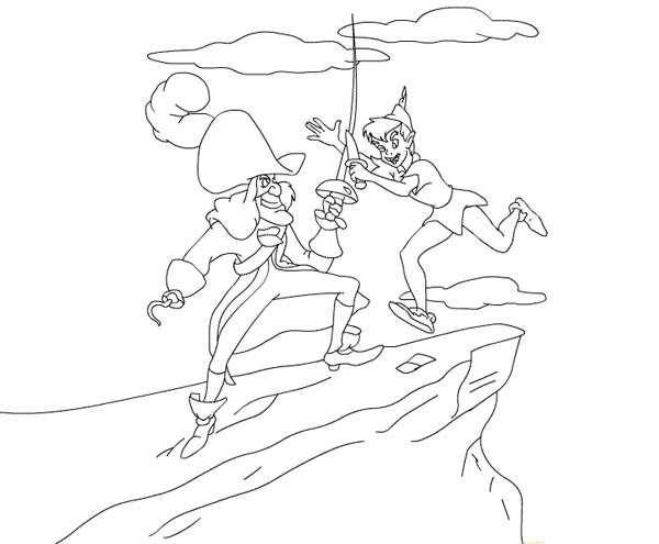 Peter Pan Duel With Captain Hook Coloring Page : Coloring Sky
