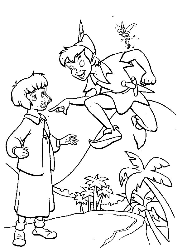 Peter Pan And Wendy Flying With Tinkerbell Coloring Page