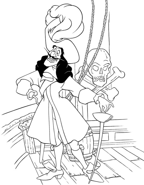 Peter Pans Enemy Pirate Captain Hook Coloring Page