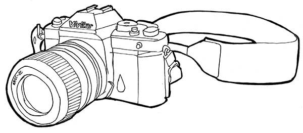 Photography Professional Camera Coloring Page: Photography