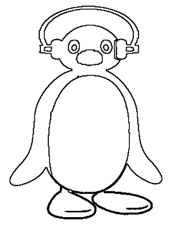 Picture of Pingu Putting Head Phone Coloring Page