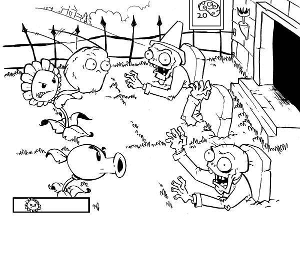 Picture Of Plant Vs Zombie Coloring Page: Picture of Plant