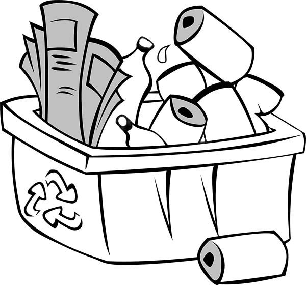 Picture Of Recycling Waste Coloring Page : Coloring Sky