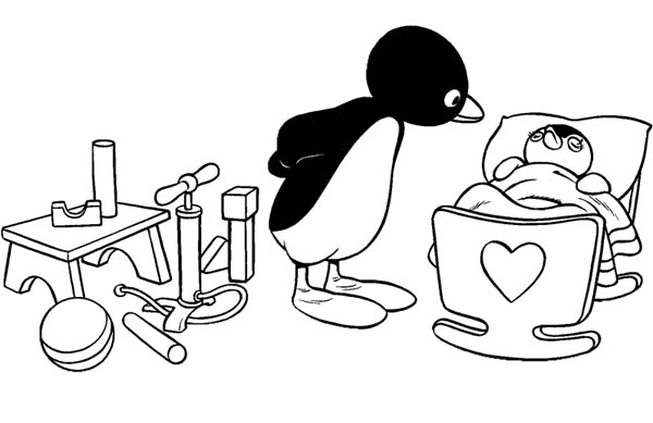 Pingu Takes Care Of Her Sister Pinga Coloring Page