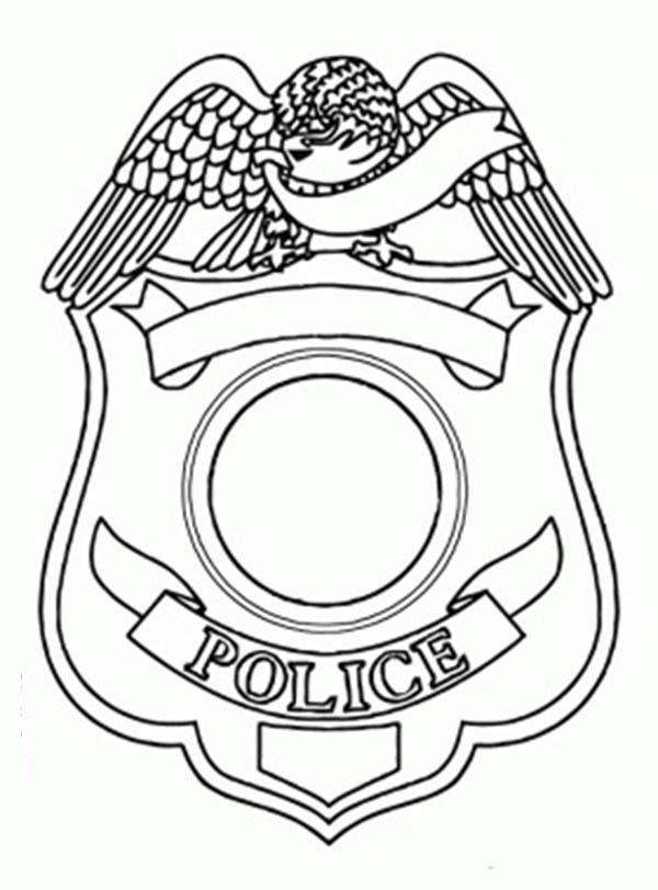 Police Badge Coloring Page Sketch Coloring Page