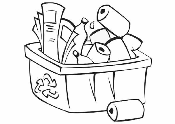 Recycle Bin Coloring Page For Kids : Coloring Sky