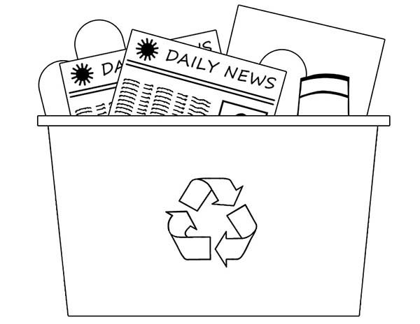 Recycling Bin Coloring Page : Coloring Sky
