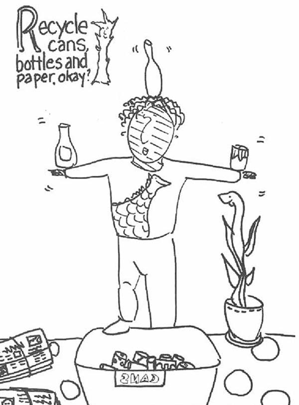 Recycling Cans Bottles And Paper Coloring Page : Coloring Sky