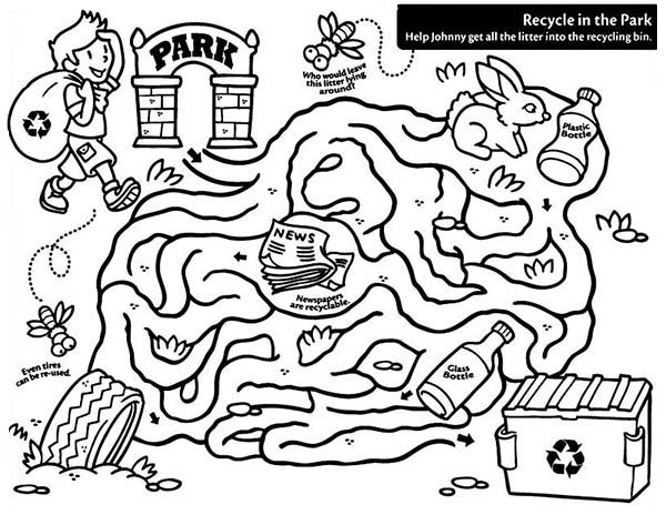 Recycling Maze Coloring Page : Coloring Sky