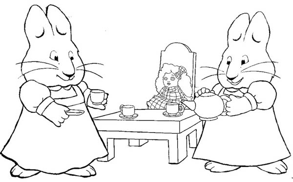 Ruby Play Dolls House In Max And Ruby Coloring Page