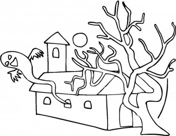 Scary House With Dead Tree Coloring Page : Coloring Sky
