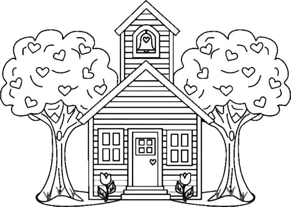 School House Between Two Trees Coloring Page : Coloring Sky