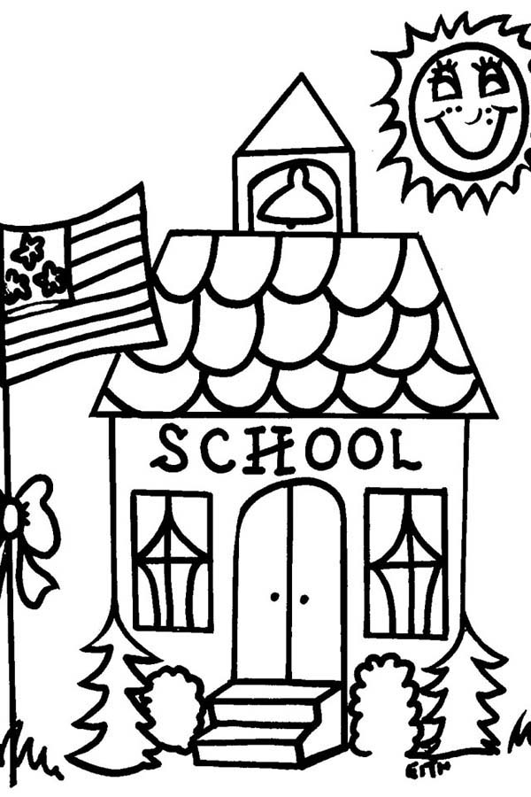 School House On Sunny Day Coloring Page : Coloring Sky