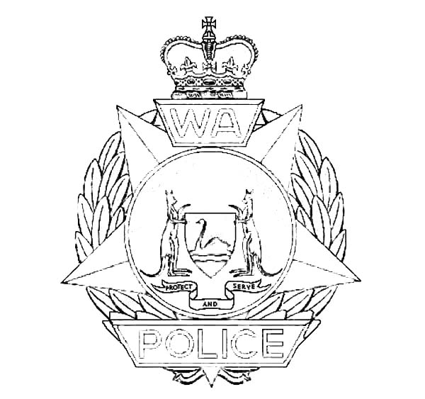 Shining Police Badge Coloring Page : Coloring Sky